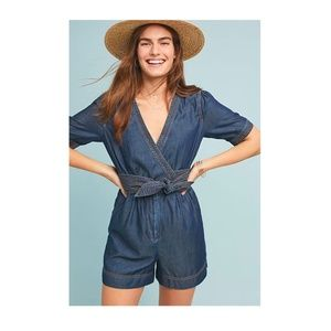 NEW Pilcro Belted Denim Romper Anthropologie Short